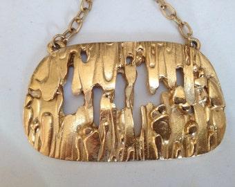 Crown Trifari Modernist Pendant Necklace – Huge 3D Gold Nugget Brutalist 1970s