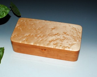 Birdseye Maple on Cherry Wooden Box With a Tray-Wooden Jewelry Box, Wood Jewelry Box, Stash Box, Wood Keepsake Box, Treasure Box, Wood Boxes