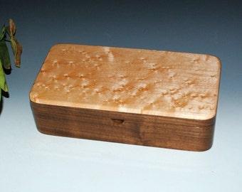 Handmade Wood Box With a Tray - Birdseye Maple on Walnut - Great Guy Choice - Handmade By BurlWoodBox, Wood Stash or Desk Box, USA Made Box