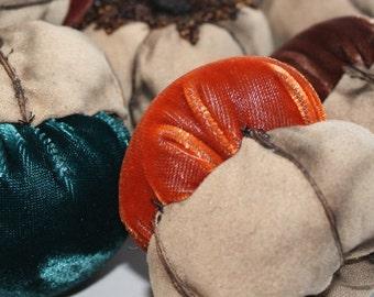 Plush Velvet Handmade Acorn Decoration - Pumpkin Orange