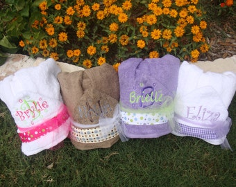 Baby and  Children's Hooded Towel Personalized with embroidery