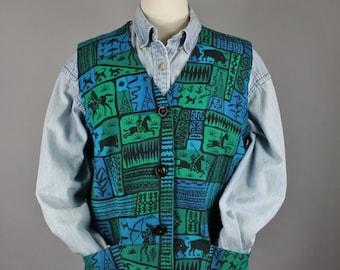 Vintage 70s Women's Blue Green Tribal Native American Scene Rare Unique Print Cotton Southwest Vest