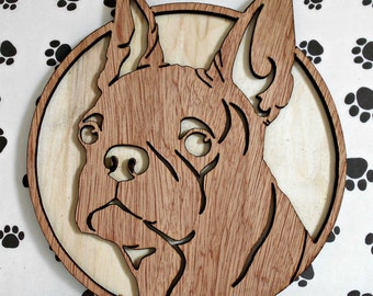 Boston Terrier Handmade Fretwork Breed Portrait Wood Dog Art