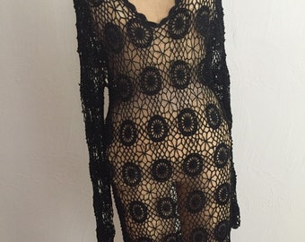 Vintage Black Beaded Open Weave Crochet Rayon Gothic Long Sleeve Dress M