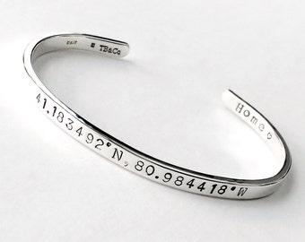 Sterling Silver Custom Coordinates Cuff Bracelet . Latitude and Longitude GPS Bracelet . .925 Anniversary Gift