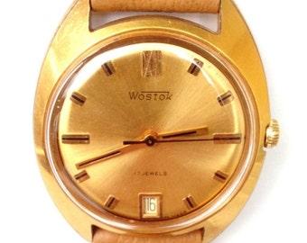 25 OFF SALE Vintage wrist watch Vostok mens watch men watch mens watch gold watch, classic watch, mechanical watch