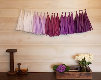 ASSEMBLED Purple Ombre Garland Tissue Paper Tassels Garland Kit Choose your  quantity Sets of 6 to 50