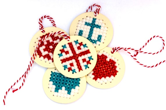 Handmade Stitchable Porcelain Ornament
