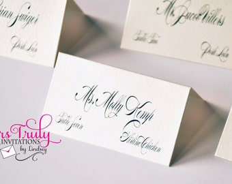 Simple Shimmer Custom Place Cards for a Wedding or Party