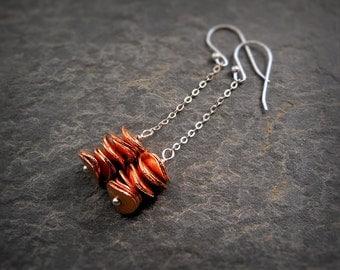 Wavy Copper Earrings Simple Brushed Copper Disc Sterling Silver Earrings Autumn Fall Earrings Dainty Mixed Metal Earrings Minimalist Jewelry