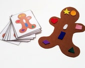 Ginger bread felt cookie matching game, toddler preschool stocking stuffers, christmas presents for children, daughter son niece nephew gift