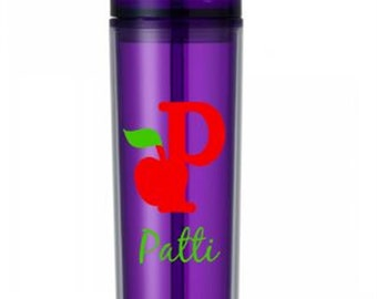 Personalized Teacher Apple Letter 16oz Acrylic Skinny Tumbler  - You Pick Color and Font
