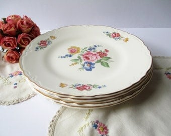 Vintage Floral Luncheon Plates Set of Four - Weddings Bridal