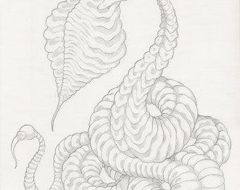 """Original Mortasheen horror monster drawing - UNUSED monster """"Dessicoil"""""""