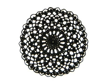 Black Crochet Lace Doily, Steampunk Decor, Gothic, New Fiber Art, Table Accessory