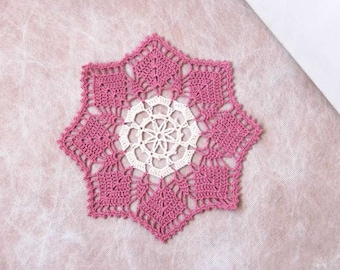 Snowflake Crochet Lace Doily, Table Decor, Home Accessory, Dusty Rose Pink, Ecru