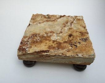Deluxe travertine trivet / display pedestal