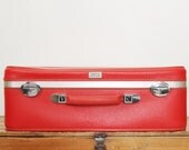 Vintage Red Suitcase Amelia Earhart Red Luggage 21 Inches