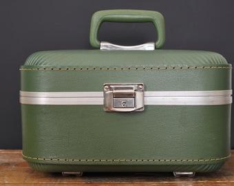 Vintage Avocado Green Train Case Trojan Makeup Cases