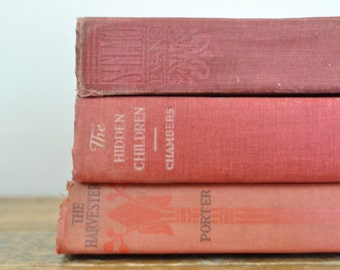 Vintage Red Book Collection Lot of 3 Home Decor Display