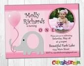Elephant Birthday Invitation, First Birthday Invitation