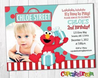 Elmo Birthday Invitation, Sesame Street Birthday, Elmo Invitation