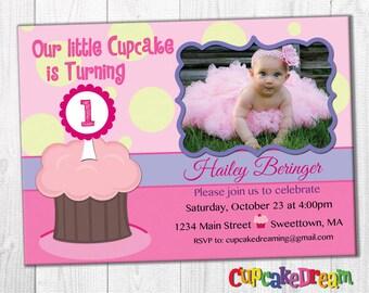First Birthday Invitation, Cupcake Invitations