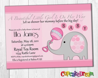 Girl Baby Shower Invitation, Elephant Baby Shower