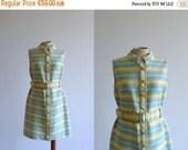 40% OFF SALE // Vintage mini dress. 60s minidress. Mod striped dress