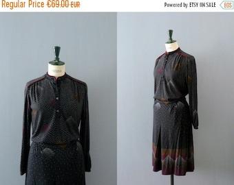 40% OFF SALE // Vintage 1970s knit dress. 70s wool knit skirt blouse set