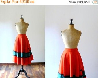 40% OFF SALE // Vintage 1950s full skirt. 50s red cotton circle skirt