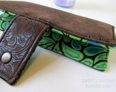 Handmade wallet brown faux tooled leather - floral #13 -leaves green and blue - women clutch brown - Custom order -