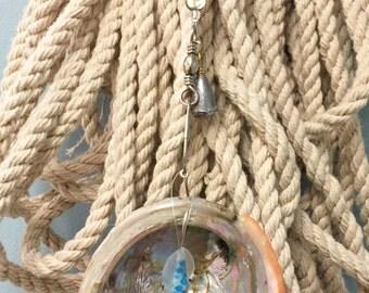 Abalone Shell and Fishing Lure Fan Pull