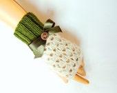Crochet Green Beige Gloves, Fingerless Gloves, Hand knitted Mitten, Lace Trend, Winter Accessories, Women Green Beige Gloves