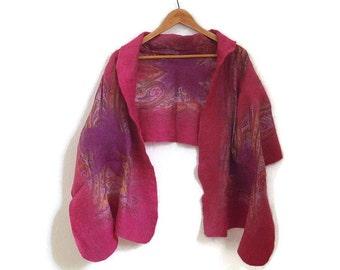 fuchsia felted silk shawl, paisly, nuno felted scarf