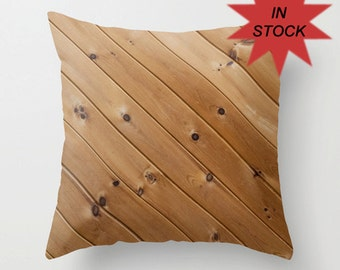 Wood Grain Pillow Cover, Accent Cushion Case, Handmade, Knotty Brown Pine, Cottage Chic, Rustic Man Cave Decor, Father's Day Present