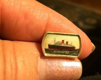 Memorabilia, Mauritania, Luxury Liner, Cunard, cuff link, Edwardian, shirt stud ,souvenir, circa 1906, RMS Mauritania