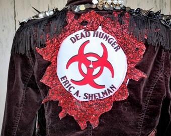 Jacket, Zombie apocalypse jacket, steampunk, warrior woman, upcycled jacket, one of a kind, Black jacket, patchwork, Dead Hunger, woman coat