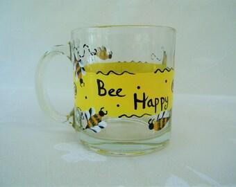 Coffee Mug, hand painted coffee mug, painted tea mug, painted bumble bees, kitchenware,