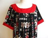 Vintage 50s Hawaiian Black & Red Plumeria Tropical Print Cotton Tiki Luau Summer Dress