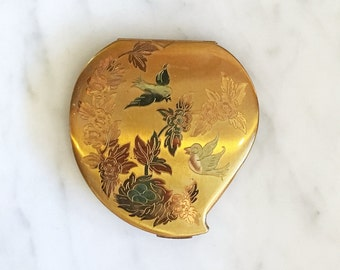 Vintage 40s 50s Elgin American Makeup Compact / Etched Flowers and Birds Purse Mirror