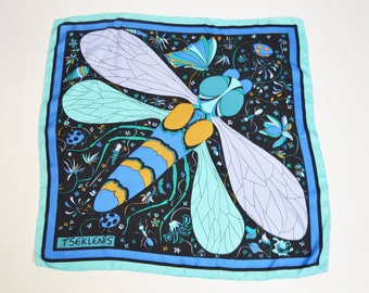 Vintage 60s 70s MOD Dragonfly Silk Floral Print Square Scarf