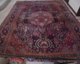 """Vintage Oriental Rug, 11'11"""" by 10'4"""" Sarouk Persian Rug"""