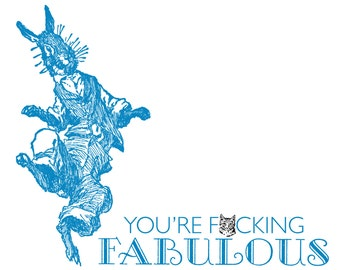 You're F***ing Fabulous! - EXPLICIT - Handmade Letterpress Card - Humor, Congratulations, Friend, Thank You