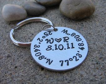 SALE - Custom Coordinate Keychain, Latitude Longitude, GPS Keychain, Hand Stamped Keychain, Wedding, Gift Her, Gift Him, Anniversary, Couple