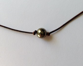 Psych inspired necklace unisex - leather cord and natural pyrite bead