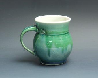 Pottery coffee mug, ceramic mug, porcelain tea cup jade green 16 oz 3465