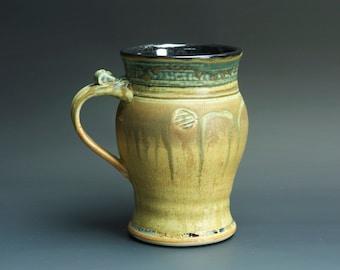 Sale - Pottery beer mug, ceramic coffee mug, stoneware beer stein, mottled green 18 oz 3344