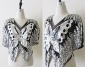 50% OFF SALE Vintage Black Silver Beaded Blouse / 70's 80's Sequined Butterfly Made In India Silky Rayon Modern Tunic Blouse