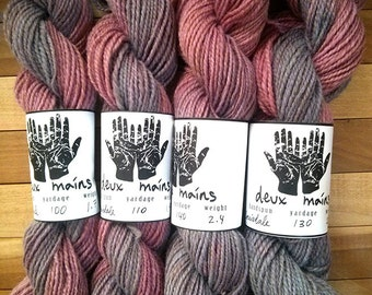 Handspun yarn, Corriedale, wool, two ply, natural dye, cochineal, indigo, Sport weight
